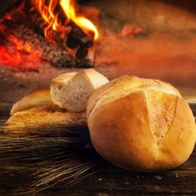 Hearth bread is traditional baked in front of an open fire.