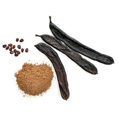 Carob pods, seeds and powder