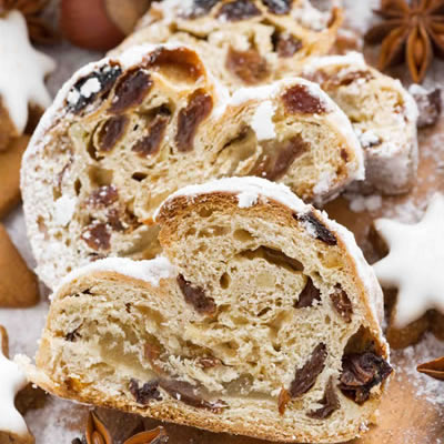 stollen sweet bread with raisins