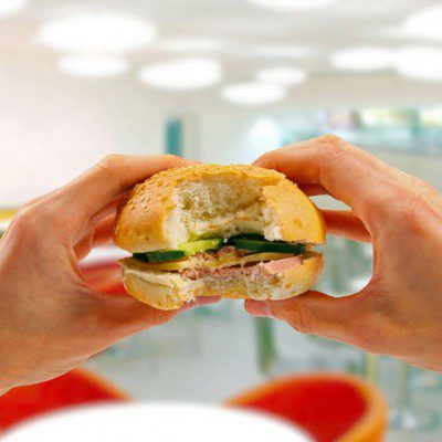 texture-bite of sandwich