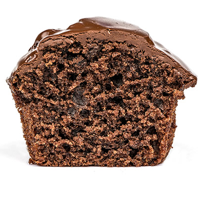 chocolate muffin half
