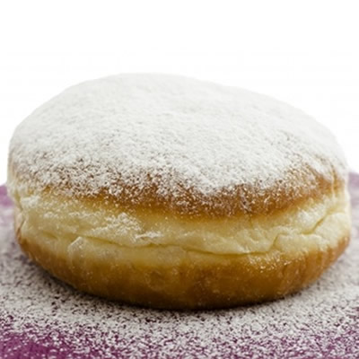 Powdered sugar on a donut